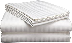 Ethereal Bedding Egyptian Cotton 600-Thread-Count Super Soft Zipper Closure Designer 1-Piece Luxury Duvet Cover Twin Extra Long Stripe White