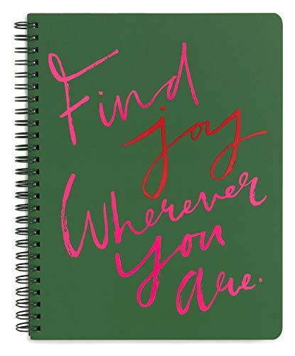 Ban.do Rough Draft Mini-Spiral-Notizbuch mit Spruch, 22,9 x 17,8 cm, mit Taschen und 160 linierten Seiten Freude finden