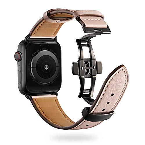 Firsteit Compatible con Apple Watch Band de 38 mm, 40 mm, 42 mm, 44 mm, correa de repuesto de piel para iWatch Series 6/5/4/3/2/1/SE (cierre rosa + negro, 38 mm/40 mm)