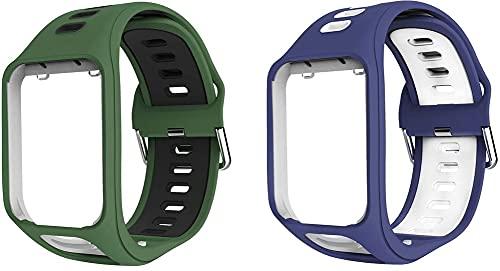 Chainfo Correa de Reloj Compatible con Tomtom Spark/Spark 3 / Runner 2 / Runner 3 / Golfer 2 / Adventurer, Impermeable Reemplazo Correas Reloj Silicona Banda (Pattern 1+Pattern 7)