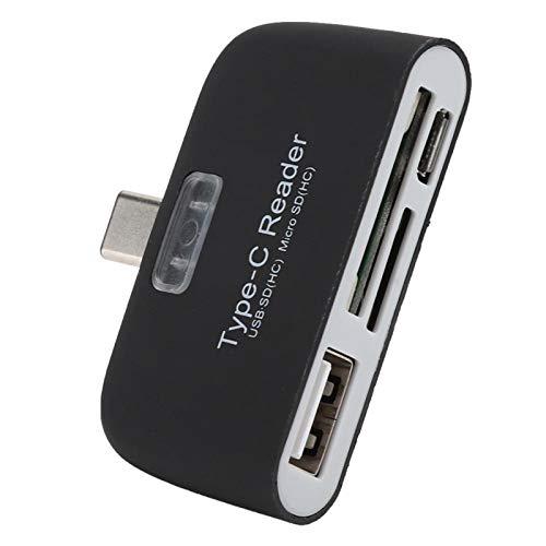 Shipenophy Generoso y Duradero Adaptador de concentrador de Lector de Tarjetas Tipo C a USB 3.0, portátil de Alto Rendimiento para teléfonos para tabletas