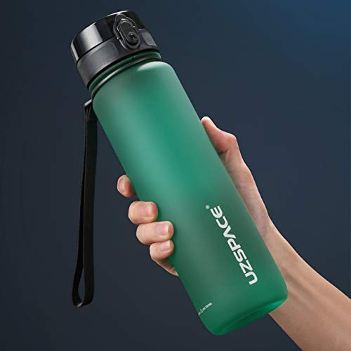 Thermos cup Hot Sports Water Bottle 500ML 1000ML Protein Shaker Outdoor Travel Portable Leakproof Drinkware Plastic My Drink Bottle BPA Free ZJ liqi (Capacity : 350ml, Color : Jade green)