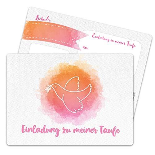 13 Einladungskarten zur Taufe - Motiv Taube aquarell rosa - Einladung zur Heiligen Taufe für Mädchen und Jungen - hochwertig gedruckt in DIN A6