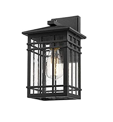 Rosient Outdoor Wall Lantern,Exterior Wall Mount Light, 1-Light Outdoor Wall Lighting Fixture for Porch,Garage, Patio, Hallway and Entryway (Black-Wall Light, 1 Pack)
