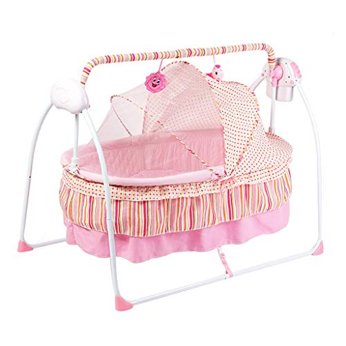 Purchase Rocking Chair Balance Swings Chair Bouncers Cradle Baby Rocking Chair Recliner Newborn Cradle Bed Bluetooth Change Song Suitable for New-Born Bed (Color : Pink)