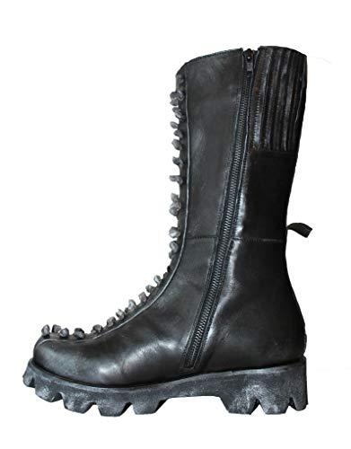 Papucei Stiefel Black - Silver Boots Gr. 39 Schwarz Leder Used-Look
