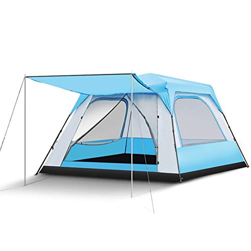 Sisizhang Große 5-8 Personen Campingzelt Automatische Pop Up 4 Saison Regendicht Faltbare Tragbare Quadratische Familienzelt, 2 Farben (Color : Blue)
