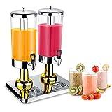 JACKBAGGIO 3L~24L新しいステンレスホーム/商業のレストラン丸い飲み物ディスペンサーを飲む冷たい飲み物機械と冷たい氷ジュース豆乳ディスペンサー(6リットル1.5ガロン、金)