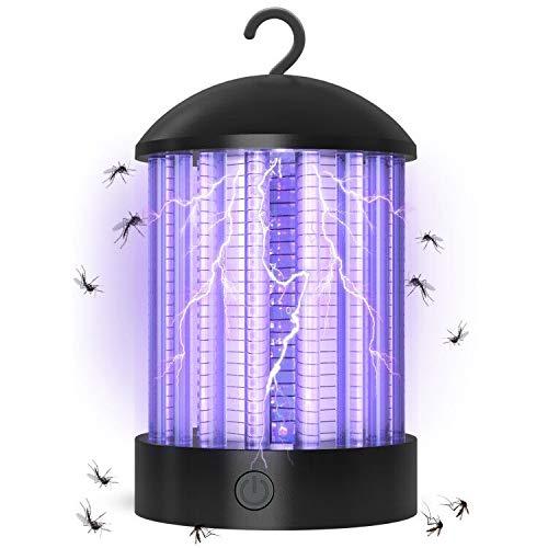 QcoQce Zanzariera Elettrica USB Ricaricabile, IP66 Impermeabile UV Lampada antizanzare, 3W Trappola Zanzare con USB Ricaricabile, 3 Luminosità di LED Luce per Casa Ufficio Patio Cucina (BK006-B)