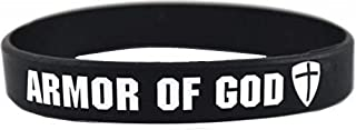 Armor of God Silicone Rubber Wristband Bracelet [Adult - Black]