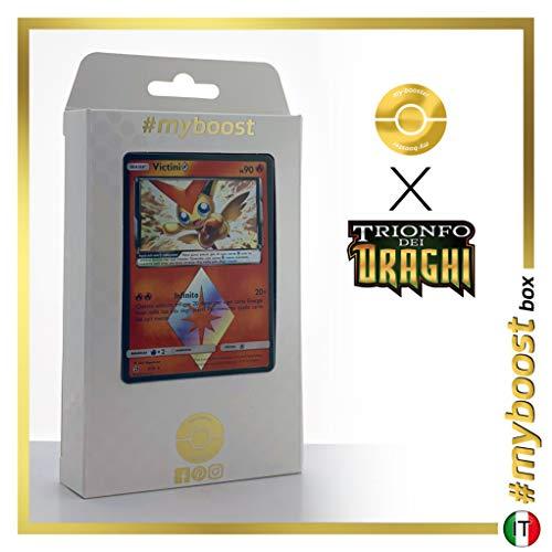 Victini 7/70 Holo Prisma - #myboost X Sole E Luna 7.5 Trionfo dei Draghi - Box di 10 Carte Pokémon Italiane