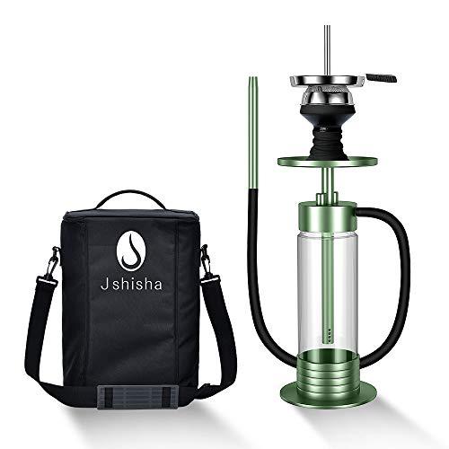 J Shi sha Shisha Edelstahl Grün V2A Hookah Big Size LED Licht mit Tragetasche | Wasserpfeife | Kaminkopf | Komplettset | Tauchrohr mit Diffusor | Silikonschlauch Alumundstück Tabakkopf