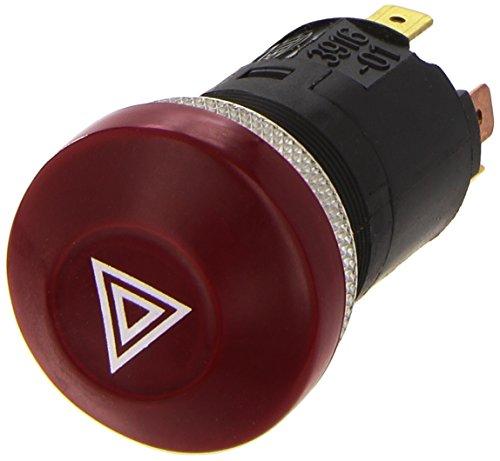 HELLA 6HF 003 916-011 Warnblinkschalter - Druckbetätigung - 12V - Einbau - Schalterbeleuchtung: rot - mit Glühlampe