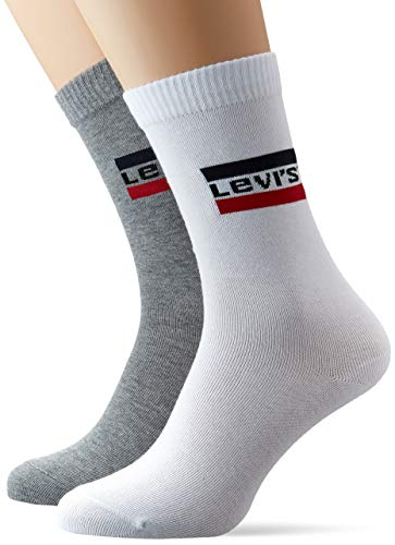 Levi's Unisex Regular Cut Sportswear Logo Socken, Weiß/Grau, 39/42