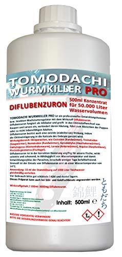 Wurmmittel für Koiteich und Gartenteich, effektives Mittel gegen Karpfenläuse und andere chitinhaltige Ektoparasiten, Tomodachi Wurmkiller Pro, Diflubenzuron, professioneller Entwicklungsinhibator 500ml Flasche für die Behandlung von 50.000L Teichwasser