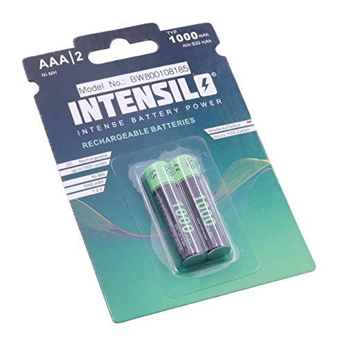INTENSILO 2X NI-MH 1000mAh (1.2V) wiederaufladbare Akkus Batterien passend für Telekom Sinus PA206, PA300, PA300i, PA301, PA301i, PA302, PA302i