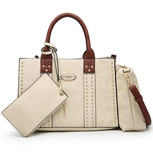 Women Vegan Leather Handbags Fashion Satchel Bags Shoulder Purses Top Handle Work Bags 3pcs Set Beige