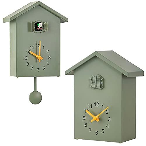 8KB24 Relógio de cuco, cuco, relógio de parede com campainha e pêndulo – voz de pássaro natural ou chamada de cuco, relógio Coo Coo Coo para arte de parede, sala de estar, cozinha, decoração de escritório