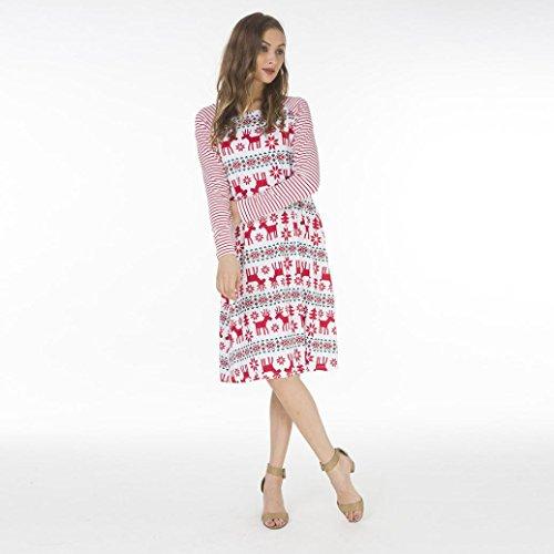 iLH ZYooh Plus Size Christmas Dress Womens Casual Stripe Long Sleeve Xmas Mini Dress Clearance! (White, M)
