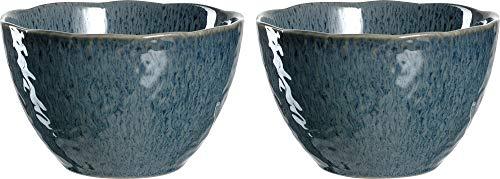 Leonardo Schale Matera 2-er Set, 15,3 cm, Set aus 2 Keramik Schalen, spülmaschinengeeignet, mit Glasur blau, 026993