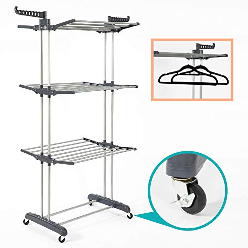 SUPJOO Clothes Drying Rack for Laundry 3 Tier,Rolling Garment Rack with Foldable Wings,Collapsable Standing Rack for Indoor/Outdoor,Heavyduty Stainless Steel Dryer Hanger Stand Rail - Gray (Gray)