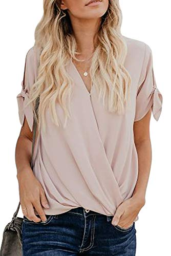 HOTAPEI Womens Blouses and Tops for Work Fashion 2019 Casual Summer Tie Short Sleeve Wrap V Neck Chiffon Blouses for Women Cold Shoulder Tops Shirts Apricot S