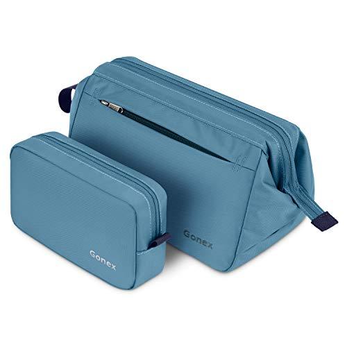 Gonex Hanging Toiletry Bag Makeup Bag for Purse Travel Makeup Pouch Portable Cosmetic Bag Shaving Dopp Kit Daily Storage Organizer for Women Men Girls with Handle 2pcs Grayish Blue