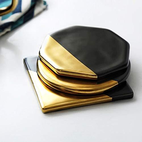 LXH-SH Cojín Negro de mármol Chapado en Oro Coaster de cerámica de la Copa Mats Pads Herramientas Hogar Decoración de Cocina de sobremesa Antideslizante de Lujo del Estilo de Europa (3 Unidades)