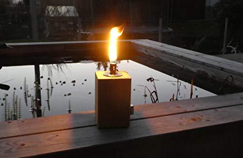 Feuersäule Gartenfackel Eichenbalken Holz Terrassenfackel Ölfackel Öllampe Gartenlicht Feuerbalken (15cm)
