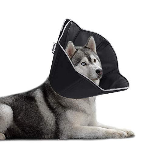Ycozy エリザベスカラー 中大型犬 防水布製 特大 サイズ調整可能 手術後ケア 傷口保護 舐め防止 噛み防止 引っ掻き防止 軽量快適 ブラック XL   周45-58cm
