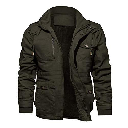 KEFITEVD Men's Winter Fleece Jacket Thick Warm Coat Multi Pocket Military Jacket with Removable Hood