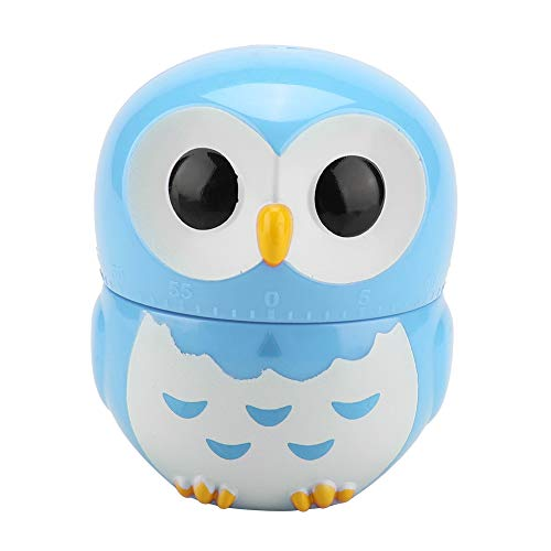 Weiyirot Cooking Timer, Cute Owl Shape Timer, 1-55 Minutes Kitchen Timer Egg Timer Loud Alarm Mechanical Timer for Baking Frying Cooking Eggs Cookies Cakes Games Sports(Blue)