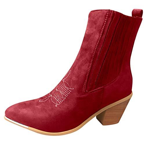 Anliyou high Heels Arbeitsschuhe elegant edel Übergangsschuhe mit Blockabsatz Stiefel Stiefelette Rot Weiß Gelb Schwarz Kurzschaft Gladiator Stiefel Stiefelette