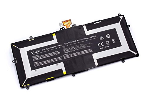 vhbw Li-Polymer Batterie 3300mAh (7.4V) pour tablette, Netbook Asus VivoTab TF810CD comme C21-TF810CD, 0B200-00090000.