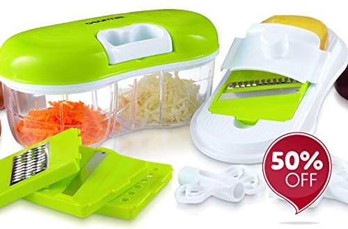 Gourmia GCH9290 Chopper & Grater Set All-in-One Pull String Food Processor & Mandoline Slicer with 2-Sided Container & Interchangeable Attachments, Durable BPA Free Food Safe Material