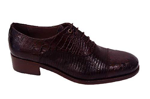 Pertini 16145, Zapato Abotinado Mujer Piel grabada castaña, tacón Grueso bajo