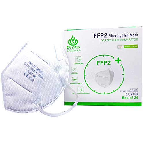 20 Mascherine Protettive FFP2 certificate CE Italia, mascherine FFP2 con Gommino per Naso, confezionate Singolarmente. Gestione Italiana
