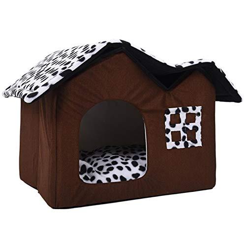 Haustierhaus Faltbares Bett mit Matte Weiche Winterwelpen Sofa Kissen Haus Zwinger Nest Hundekatze Bett Zwei Dach (Color : Brown, Size : 55x40x42cm)