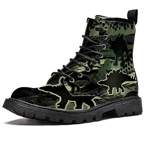 Botas de invierno con estampado de dinosaurios en camuflaje para mujeres y niñas, botas de nieve cálidas con cordones para la escuela, color Multicolor, talla 37.5 EU