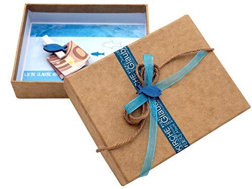 ZauberDeko Geldgeschenk Verpackung Fisch Blau Türkis Petrol Kommunion Konfirmation Geschenk Gutschein Isaak