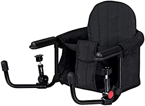 BABY JOY Hook On Chair, Fold-Flat Storage & Tight Fixing Clip on Table High Chair for Home Restaurant Travel, Portable Feeding Seat of Iron Pipe Frame, High Load Design, Baby Fast Table Chair (Black)