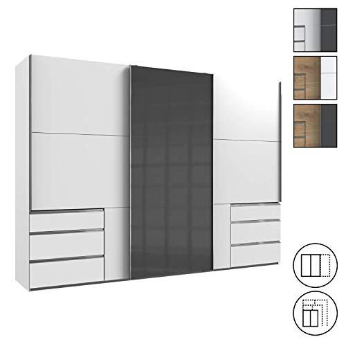 mokebo® Kleiderschrank 'Der Zugängliche', moderner Schwebetürenschrank in 2- oder 3-türig, Made in Germany, B 300cm | H 216cm & Weiß mit Tür in Grauglas