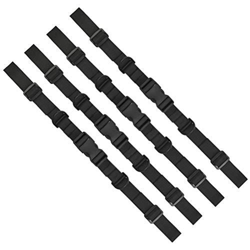 POKIENE 4 Stück Rucksack Brustgurt Verstellbarer Brustgurt | 25mm Schwarz Nylon Gurtband | rutschfest Brustgurt für Rucksack Schultasche Jogging und Wandern