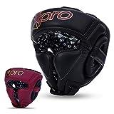 Starpro Casco Boxeo Protección Cabeza - Suave Cuero Genuino para Las Orejas y Las Mejillas Utilizada para Kickboxing MMA Muay Thai Lucha de Karate Entrenamiento Artes Marciales (Negro, XL)