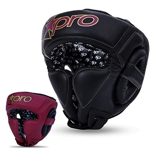 Starpro Boxen Kopfschutz Muay Thai - MMA Headgear Training Weiches Leder Head Guard | Gut für Kickboxen Sparring Grappling Karate BJJ Taekwondo Kampfsport | Schwarzes Kastanienbraun