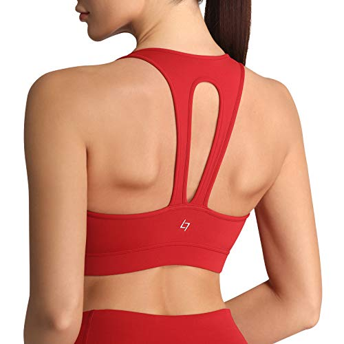 FITTIN Racerback Sports Bra for Women - Wirefree Padded Bralette for Yoga Workout Gym Fitness Activewear Tops Red Medium