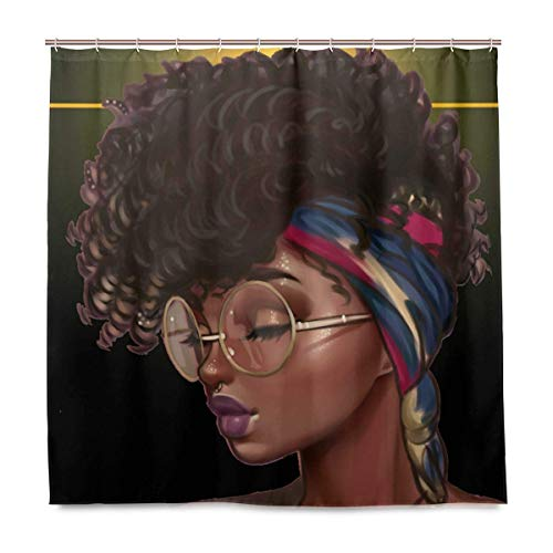 Zyduslio Traditional African Black Women with Curly Hair Afro Hairstyle Watercolor Portrait Picture Print Waterproof Fabric Polyester Shower Curtain Set with Hooks 72 X 72 Inches 66x72 Inch
