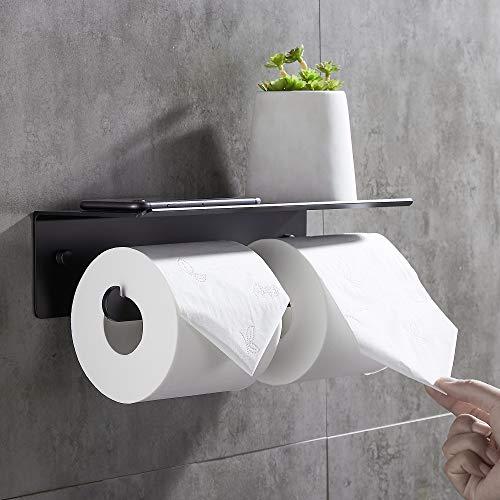 Wopeite Portarrollos para Papel Higiénico Sin Taladro Doble Portarrollos Baño Diferentes Expectativas para el Papel Higiénico Negro