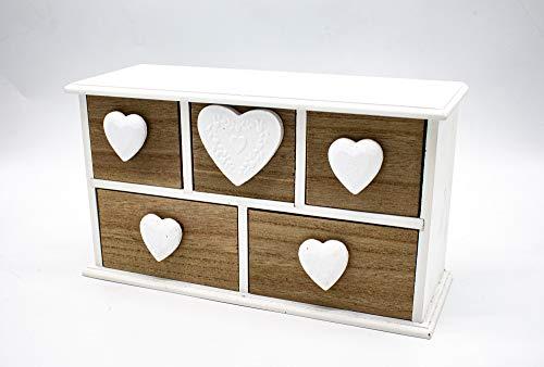 Generic Mini comò multiuso in legno con cassetti, cassettiere, portagioie, scatola in legno (24 x 9 x 13 cm)