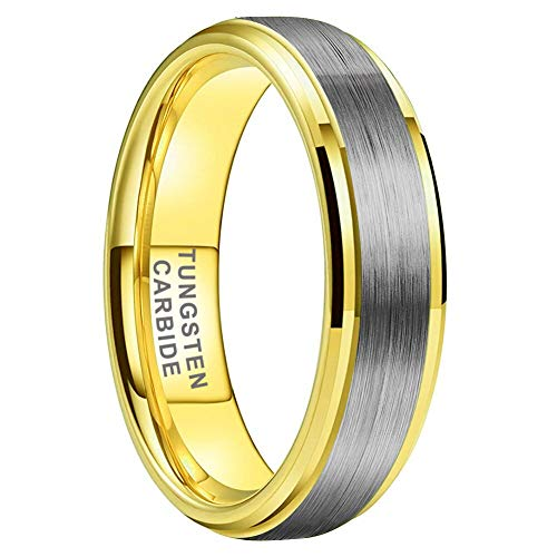 iTungsten 6mm 18K Gold Tungsten Carbide Rings for Men Women Wedding Bands Stepped Beveled Edges Brushed Finish Comfort Fit
